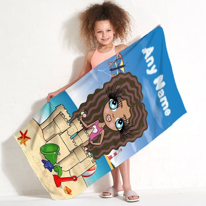 ClaireaBella Girls Sandcastle Fun Beach Towel - Image 1