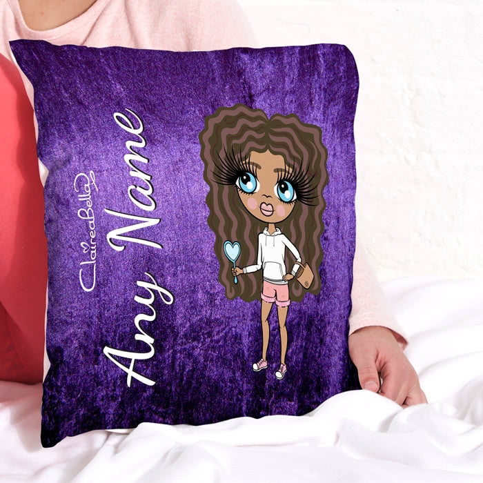 ClaireaBella Girls Square Cushion - Purple Velvet Effect - Image 1