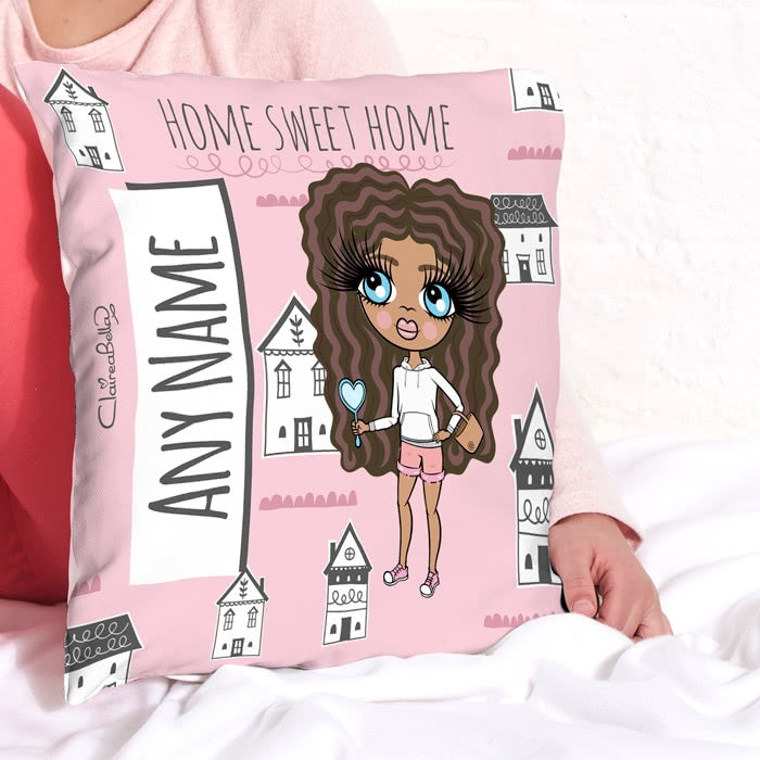 ClaireaBella Girls Square Cushion - Home Sweet Home - Image 1