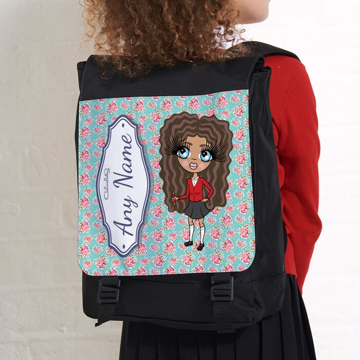 ClaireaBella Girls Rose Print Large Backpack - Image 3