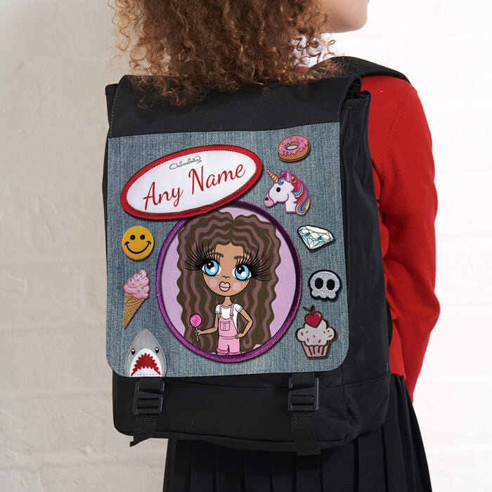 ClaireaBella Girls Denim Effect Large Backpack - Image 2