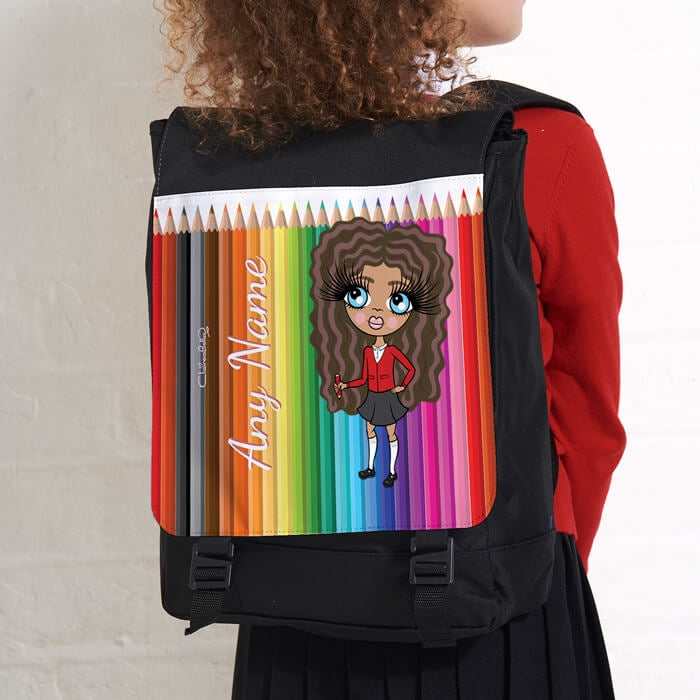 ClaireaBella Girls Coloured Pencils Large Backpack - Image 2