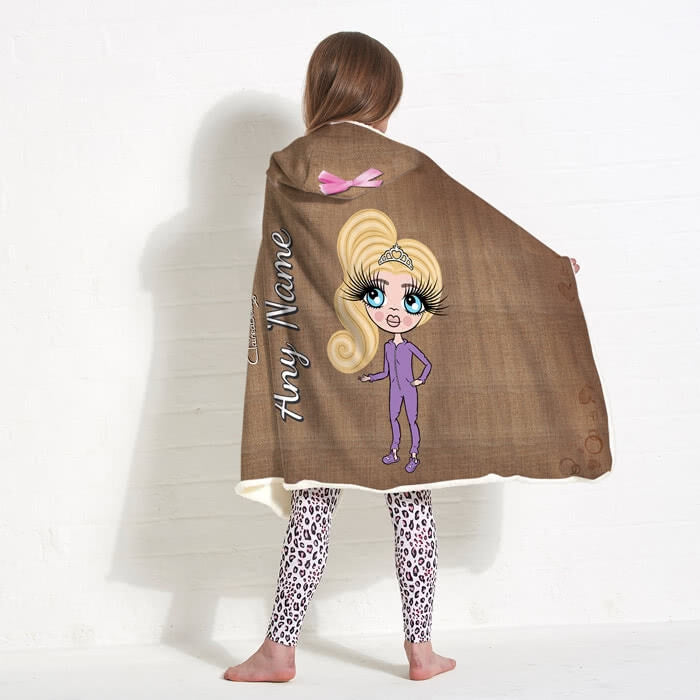 ClaireaBella Girls Jute Print Hooded Blanket - Image 1