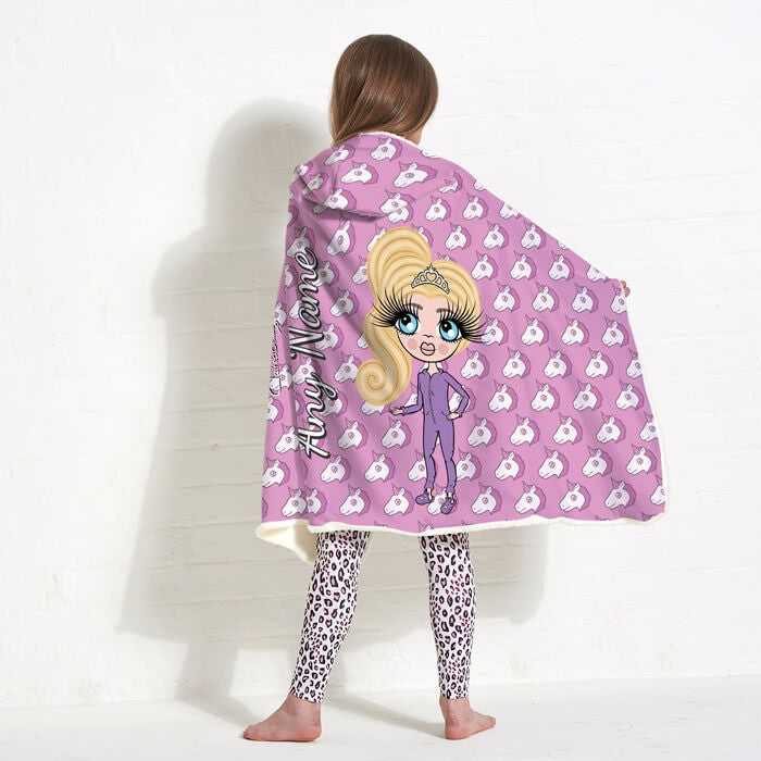 ClaireaBella Girls Unicorn Emoji Hooded Blanket - Image 3