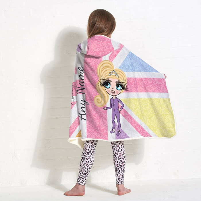 ClaireaBella Girls Union Jack Hooded Blanket - Image 1