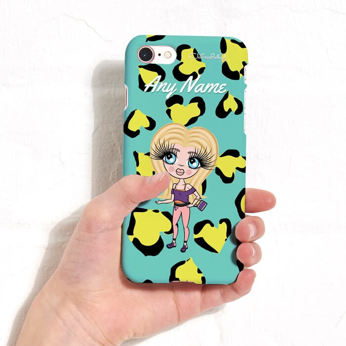 ClaireaBella Girls Personalised Heart Leopard Phone Case - Image 4