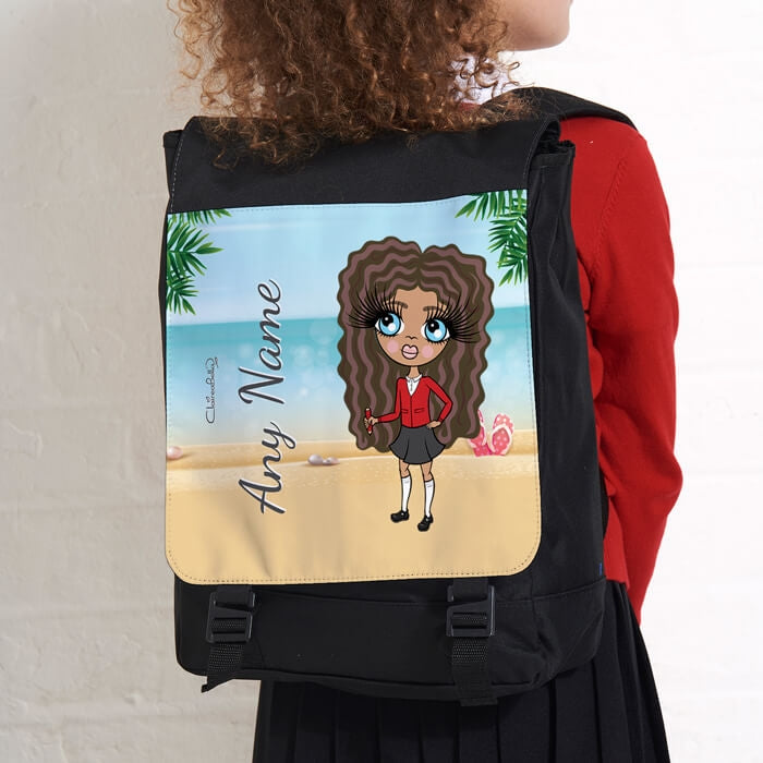 ClaireaBella Girls Beach Print Large Backpack - Image 2