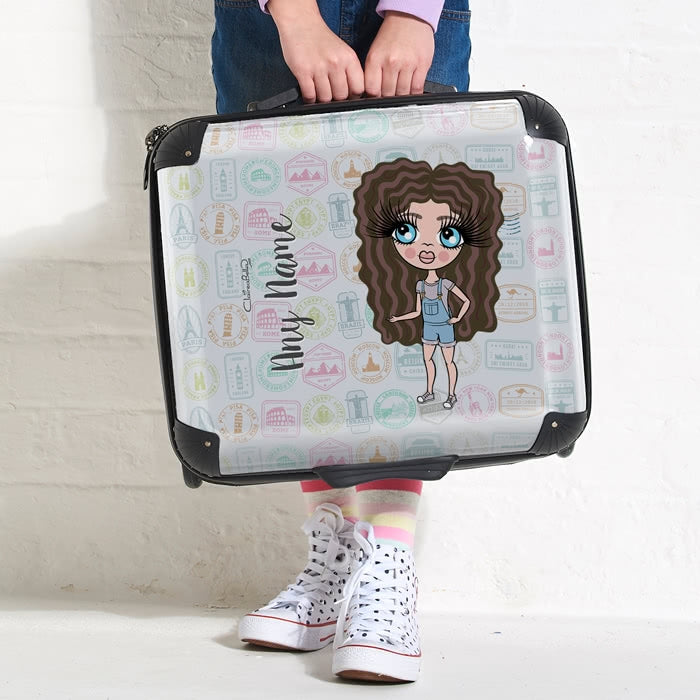 ClaireaBella Girls Travel Stamp Weekend Suitcase - Image 2