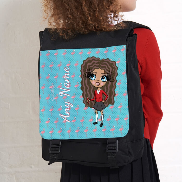 ClaireaBella Girls Flamingo Print Large Backpack - Image 4