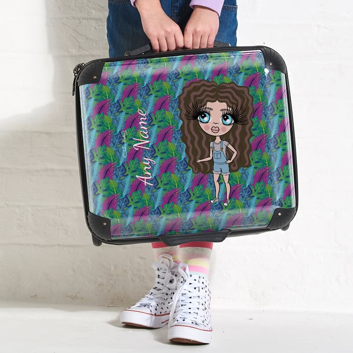 ClaireaBella Girls Neon Leaf Weekend Suitcase - Image 1