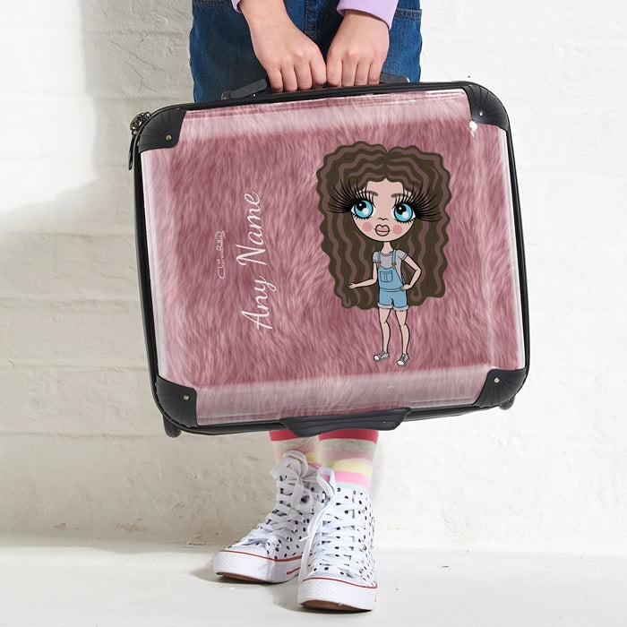 ClaireaBella Girls Fur Effect Weekend Suitcase - Image 3