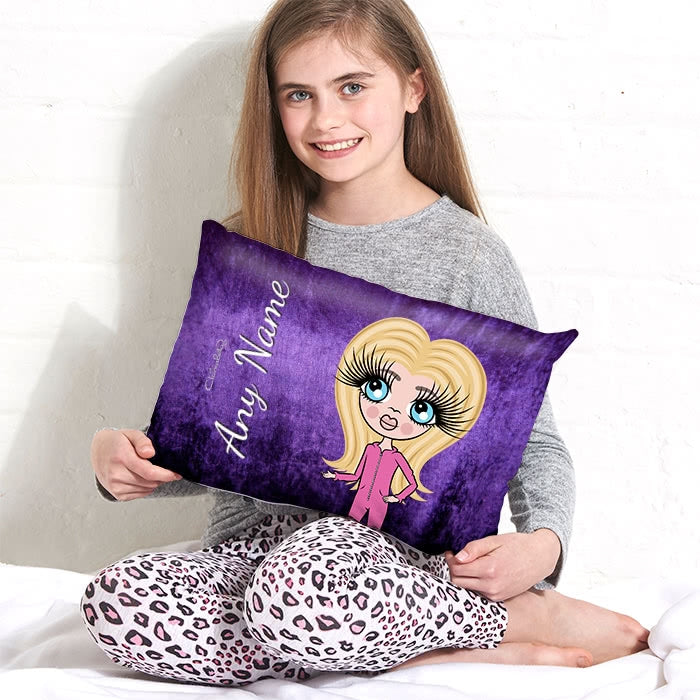 ClaireaBella Girls Placement Cushion - Purple Velvet Effect - Image 1