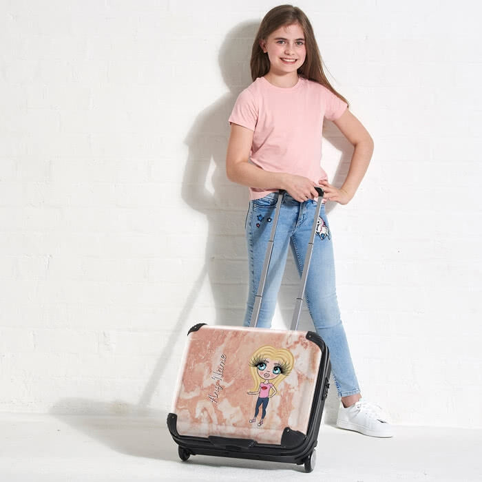 ClaireaBella Girls Marble Effect Weekend Suitcase - Image 1