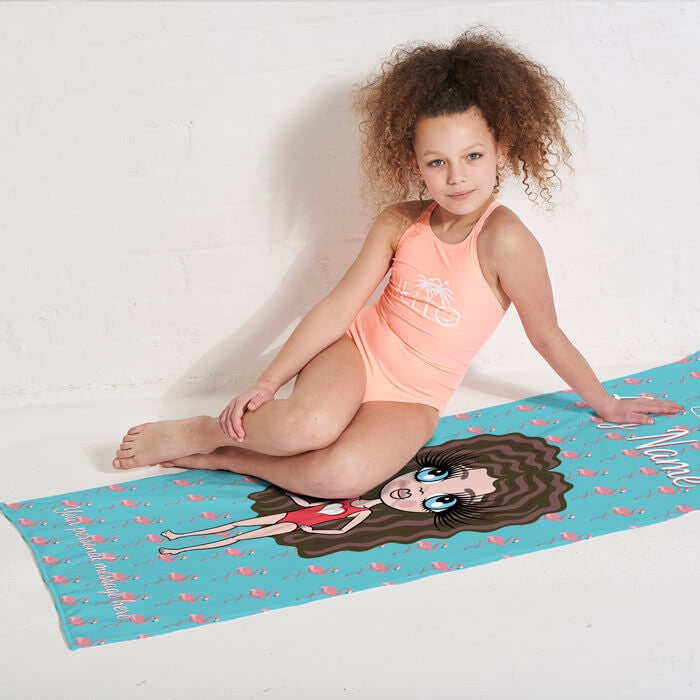 ClaireaBella Girls Flamingo Print Beach Towel - Image 5
