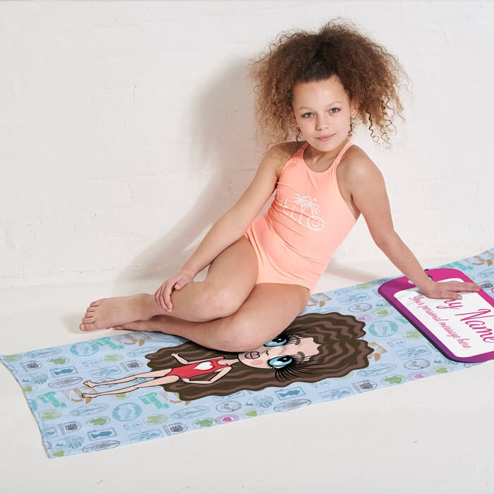 ClaireaBella Girls Travel Stamp Beach Towel - Image 2