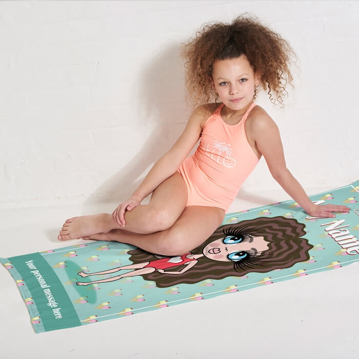ClaireaBella Girls Ice Cream Sundae Beach Towel - Image 3
