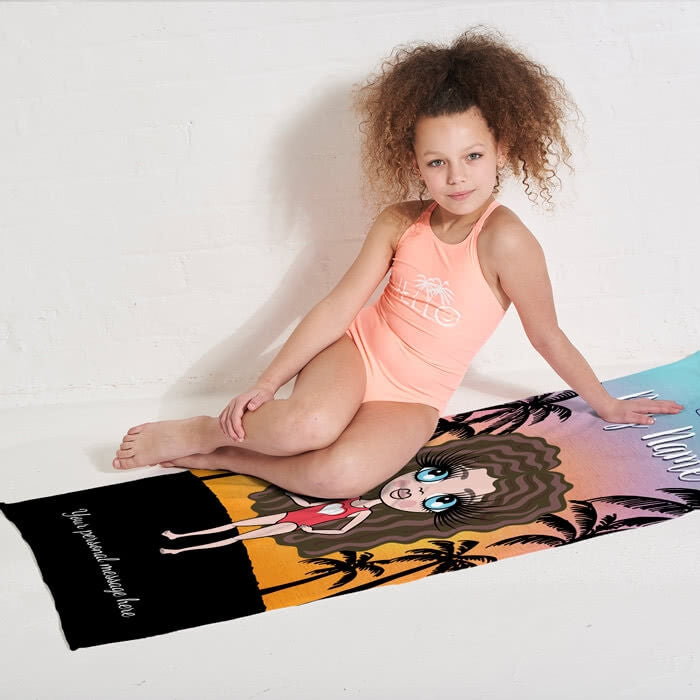 ClaireaBella Girls Tropical Sunset Beach Towel - Image 5