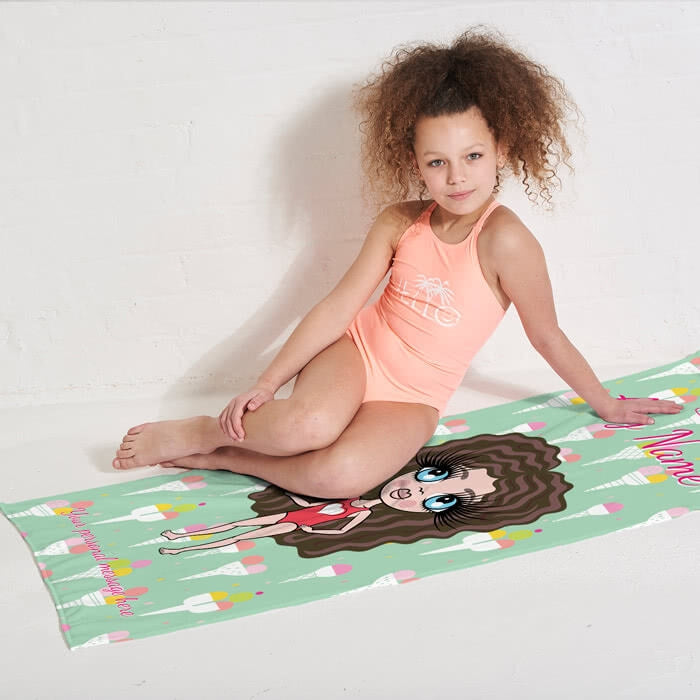 ClaireaBella Girls Ice Cream Beach Towel - Image 2