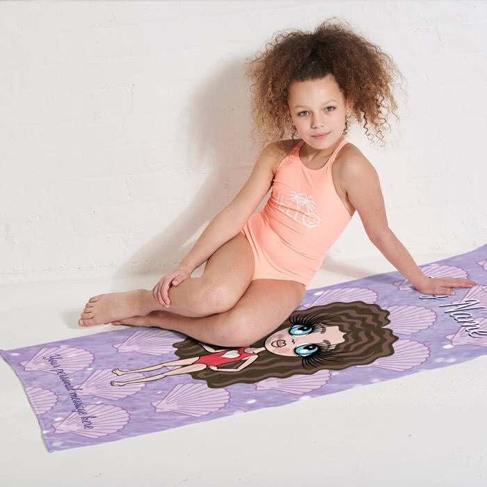 ClaireaBella Girls Sea Shells Beach Towel - Image 2