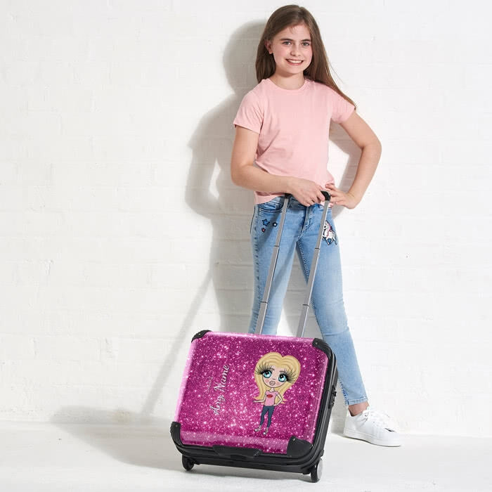ClaireaBella Girls Glitter Effect Weekend Suitcase - Image 1