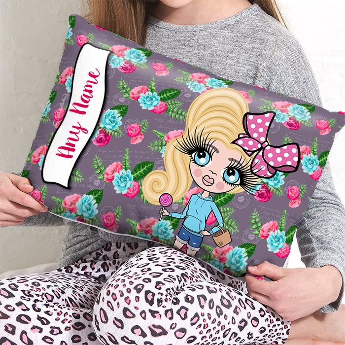 ClaireaBella Girls Placement Cushion - Grey Floral - Image 1