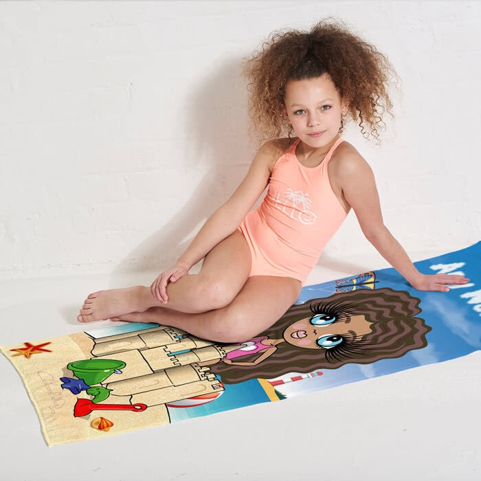ClaireaBella Girls Sandcastle Fun Beach Towel - Image 2