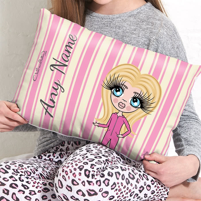 ClaireaBella Girls Placement Cushion - Pink Stripe - Image 2