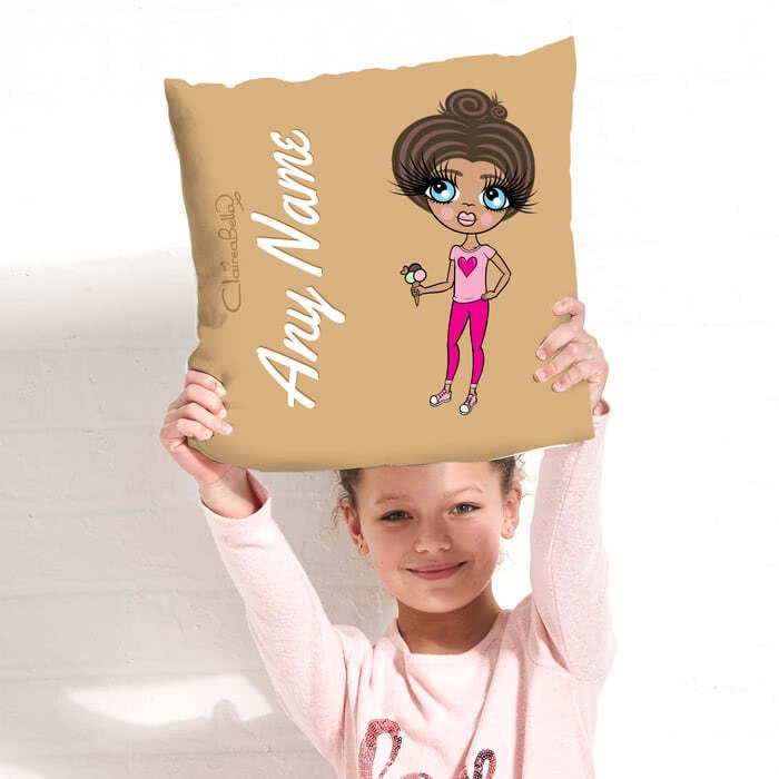 ClaireaBella Girls Square Cushion - Mocha - Image 3