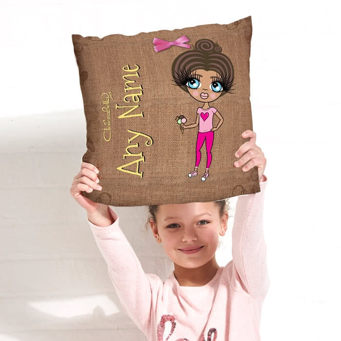 ClaireaBella Girls Square Cushion - Jute Print - Image 1