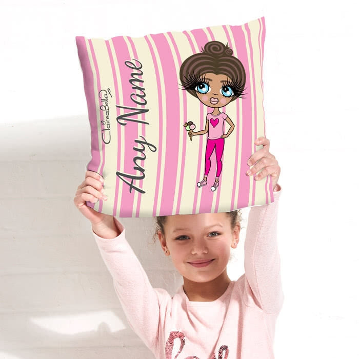 ClaireaBella Girls Square Cushion - Pink Stripe - Image 1