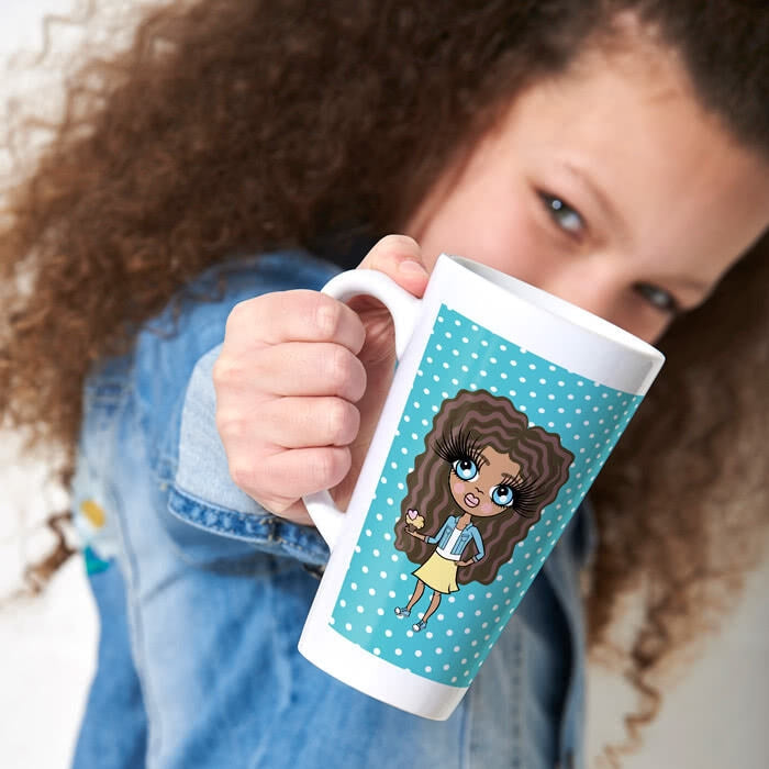 ClaireaBella Girls Blue Polka Dot Latte Mug - Image 1