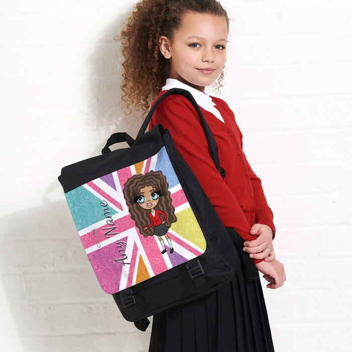 ClaireaBella Girls Union Jack Large Backpack - Image 1