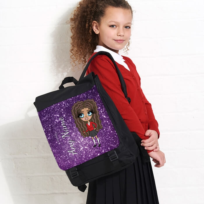 ClaireaBella Girls Glitter Effect Large Backpack - Image 1