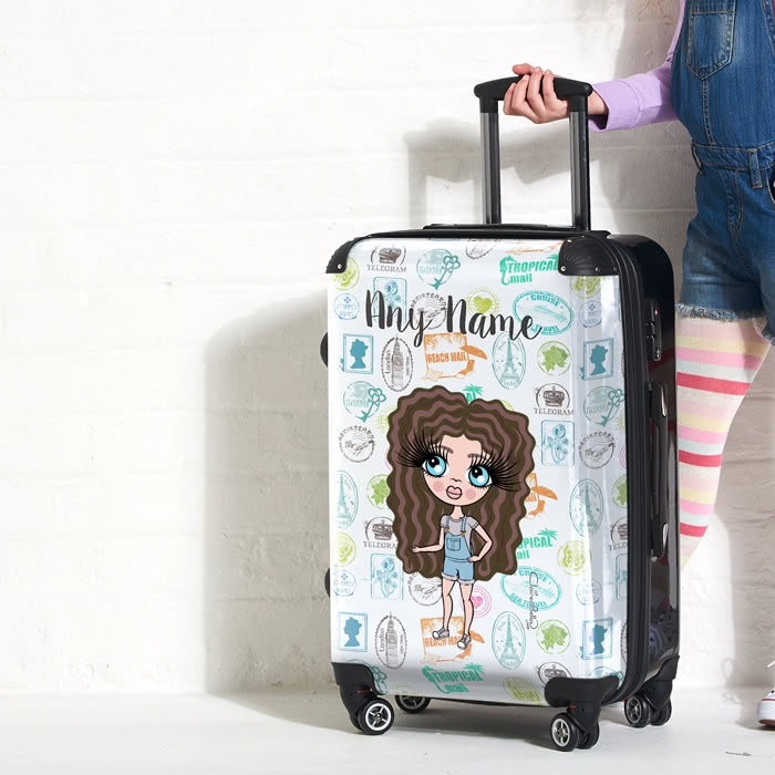 ClaireaBella Girls Travel Stamp Suitcase - Image 1