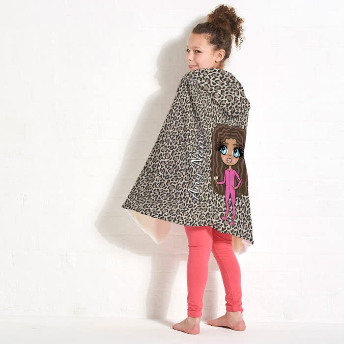 ClaireaBella Girls Leopard Print Hooded Blanket - Image 3