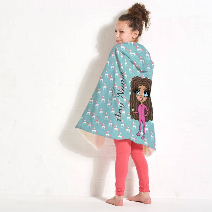 ClaireaBella Girls Unicorns Hooded Blanket - Image 2