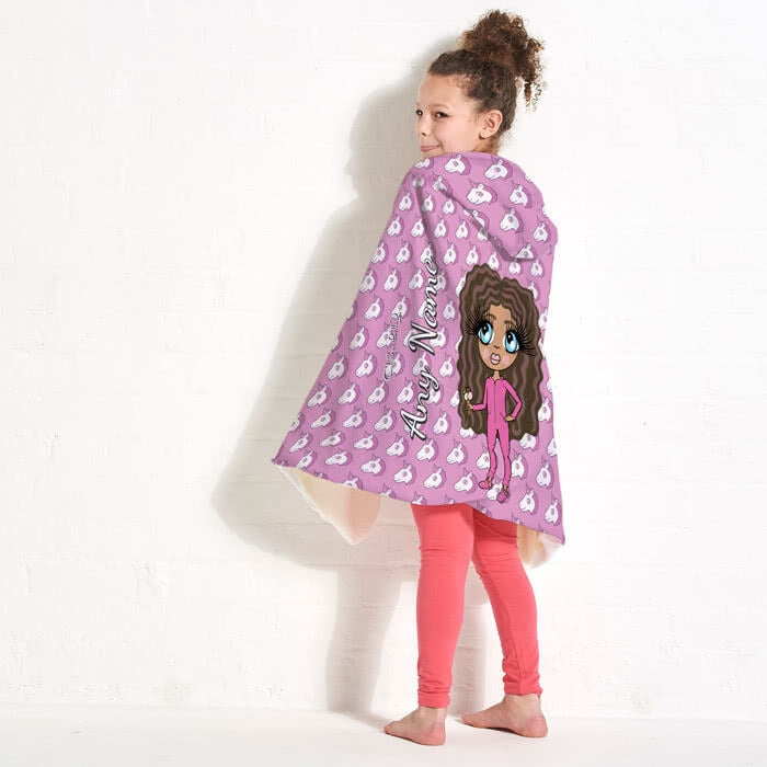 ClaireaBella Girls Unicorn Emoji Hooded Blanket - Image 1