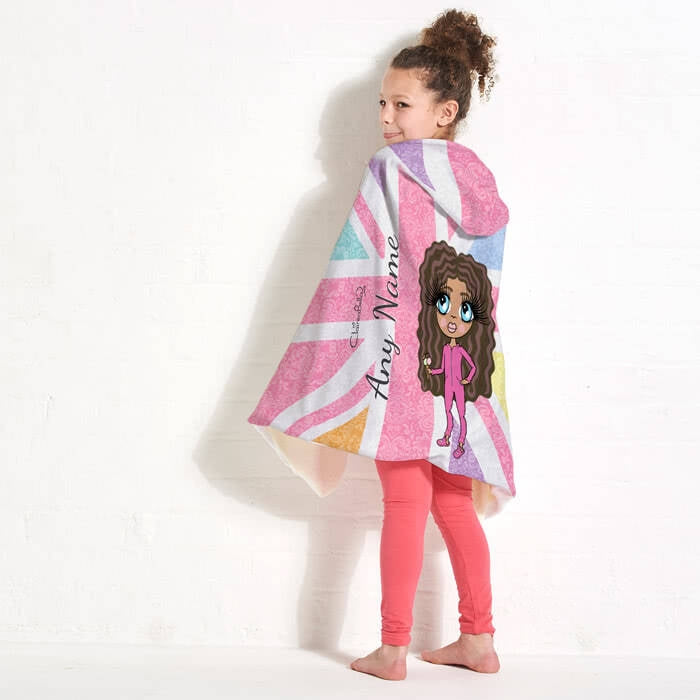ClaireaBella Girls Union Jack Hooded Blanket - Image 3