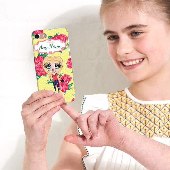 ClaireaBella Girls Personalised Lemon Floral Phone Case - Image 1