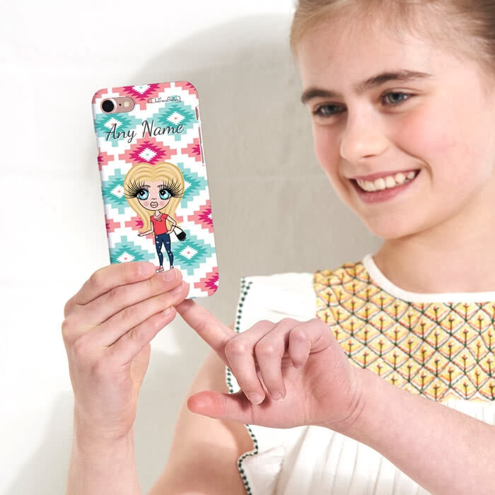 ClaireaBella Girls Personalised Aztec Geo Phone Case - Image 3