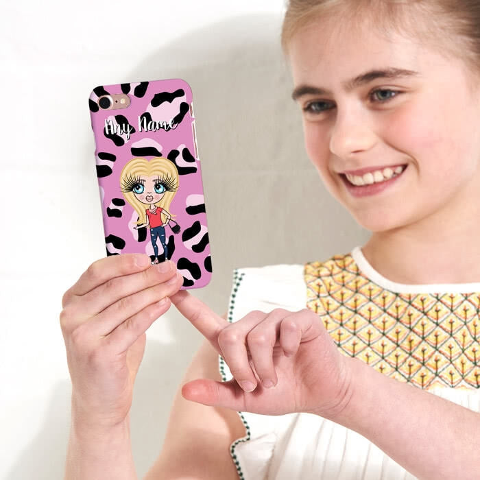 ClaireaBella Girls Personalised Lilac Leopard Phone Case - Image 3