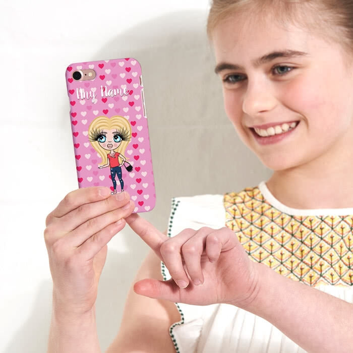 ClaireaBella Girls Personalised Hearts Phone Case - Image 2