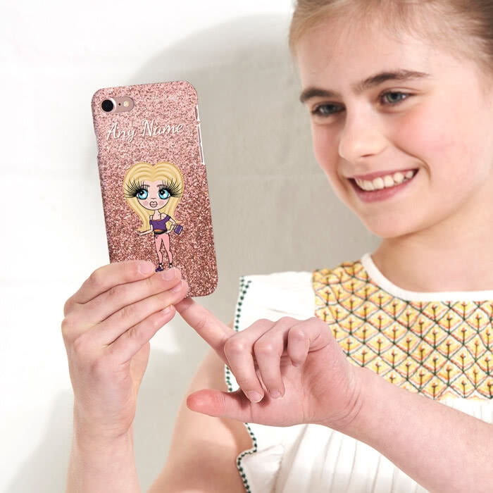ClaireaBella Girls Personalised Glitter Effect Phone Case - Image 1