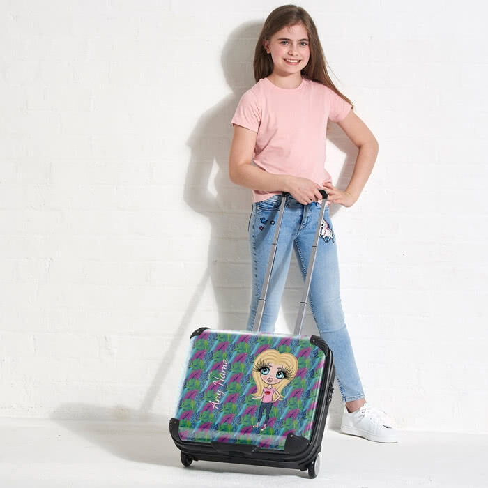 ClaireaBella Girls Neon Leaf Weekend Suitcase - Image 2