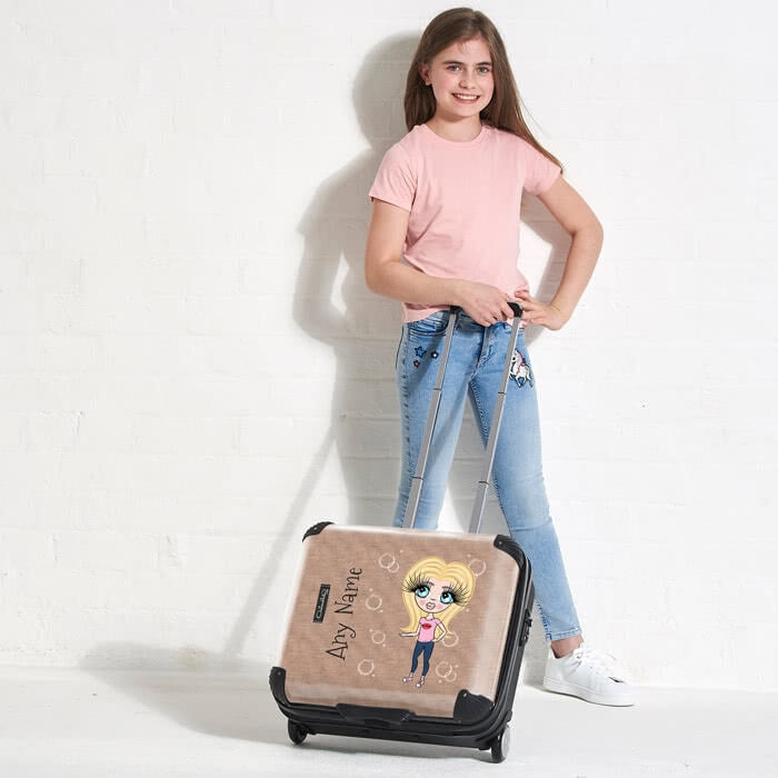 ClaireaBella Girls Jute Print Weekend Suitcase - Image 1
