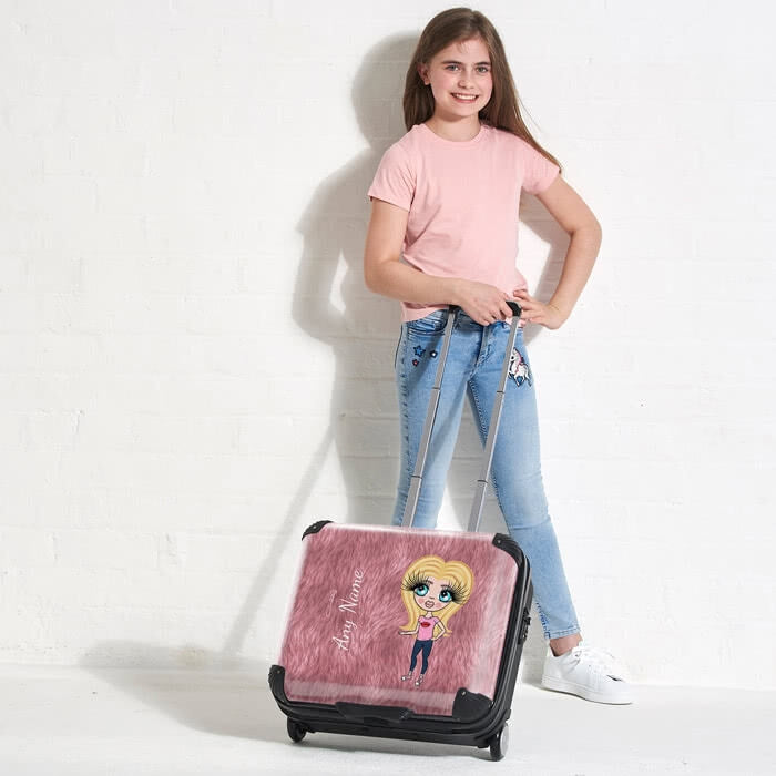 ClaireaBella Girls Fur Effect Weekend Suitcase - Image 2