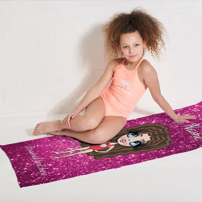 ClaireaBella Girls Glitter Effect Beach Towel - Image 2