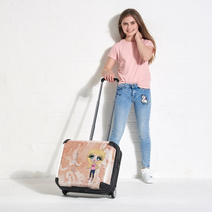 ClaireaBella Girls Marble Effect Weekend Suitcase - Image 5