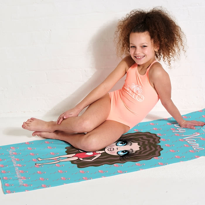 ClaireaBella Girls Flamingo Print Beach Towel - Image 3