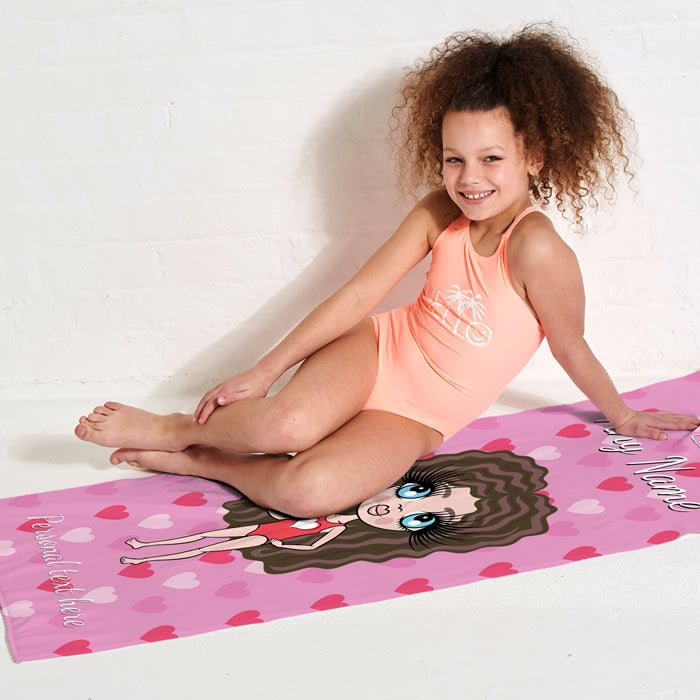 ClaireaBella Girls Hearts Beach Towel - Image 3